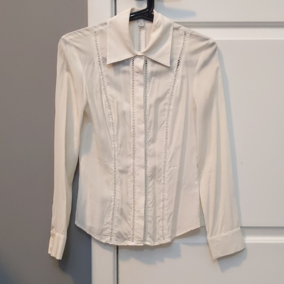 Bebe ivory silk button down shirt